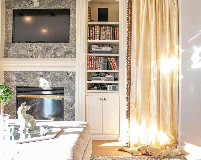 Pair of Gold Velvet Curtains, Bedroom Velvet Curtains, Living Room Velvet Curtains, Custom Curtains