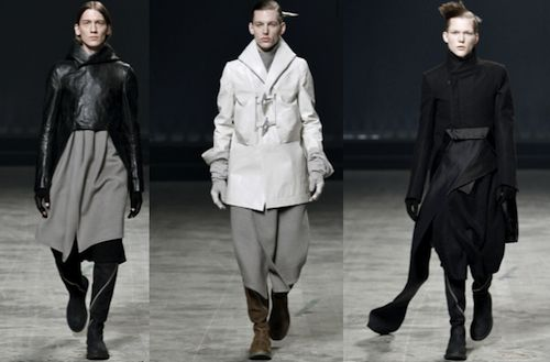 Rick Owens Autumn 2011 Runway | Source: GQ.com, gives reference to the Renaissance men in phase 3 with wide hips narrow shoulders
