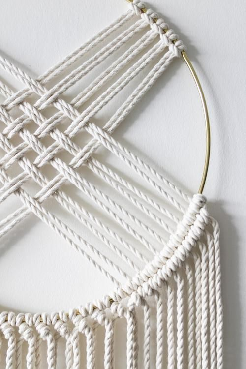 Macrame Wall Hanging with Brass Hoop