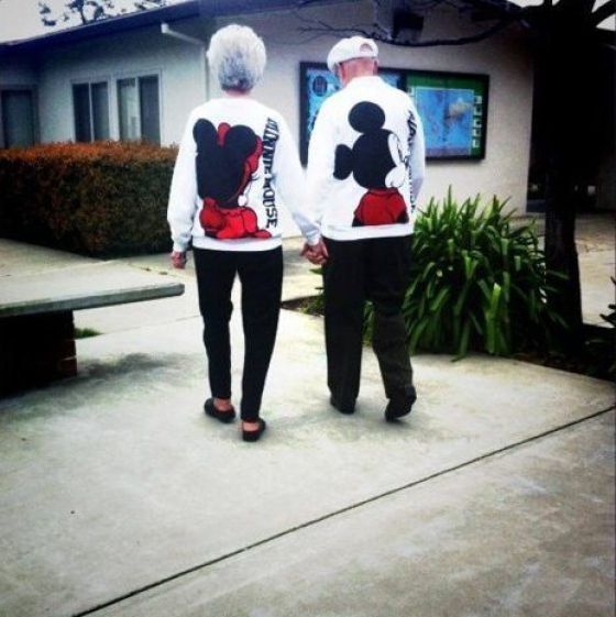 Old Couples in Love Are So Cute. This is gonna be me in my Disney SweatShirt someday :P