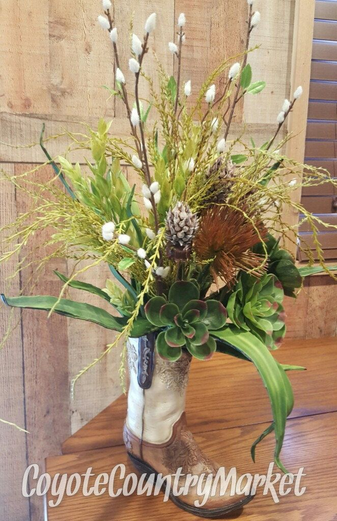 Cowboy Boot Floral Arrangement-Cowboy Boot Centerpiece-Western Centerpiece-Country Arrangement-Country Table-Western Decor-Wedding Decor by CoyoteCountryMarket on Etsy
