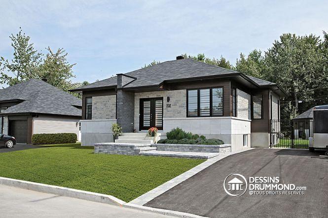 w3128 plan de maison contemporaine 1 tage 2 chambres grande douche grand lot cuisine. Black Bedroom Furniture Sets. Home Design Ideas
