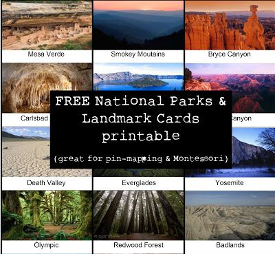 Miss Poppins: FREE National Park & Landmark Cards. # homeschool U.S. geography lesson idea