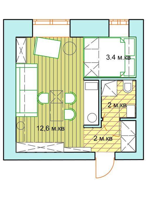 Реализация проекта студии 20 м2 от Ольги Ульяновой - Дизайн интерьеров   Идеи вашего дома   Lodgers