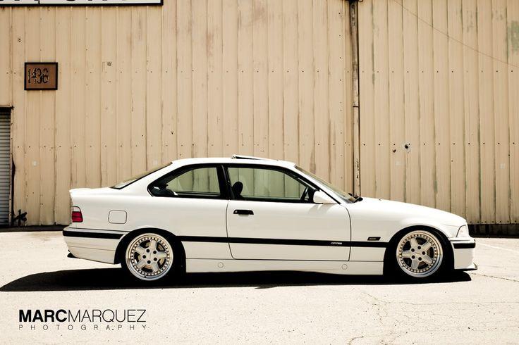Alpine white BMW e36 coupe on cult classic OZ AC Schnitzer type 1 wheels
