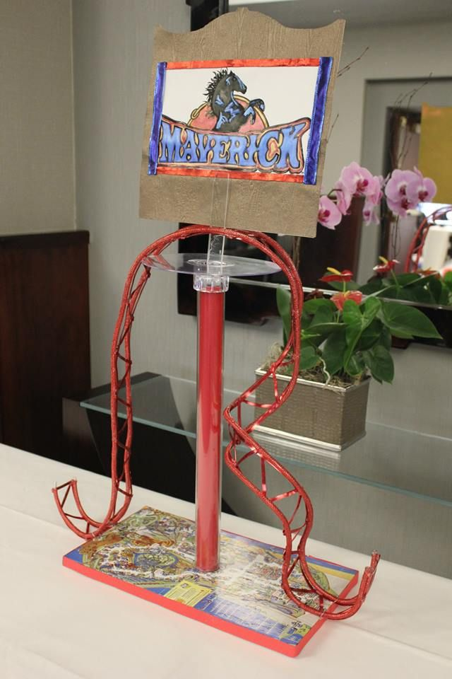 Roller coaster theme centerpiece for Amusement park decoration ideas