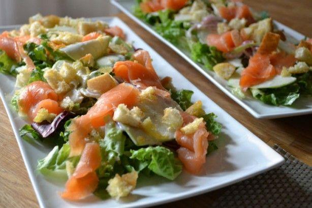 Frisse salade met appel en zalm!