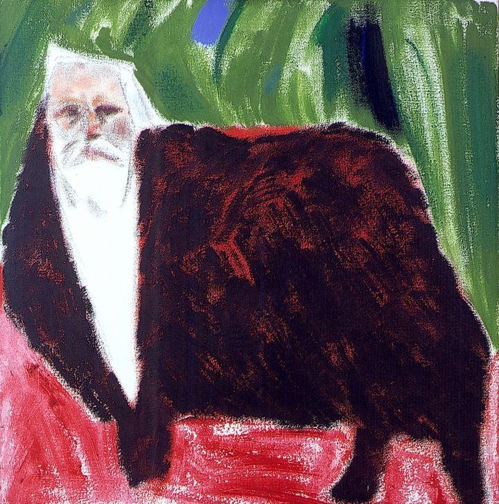"R.B. Kitaj, ""Self-Portrait (Black on Sheep)"" (2001-03), oil on canvas, 24 x 24 inches"