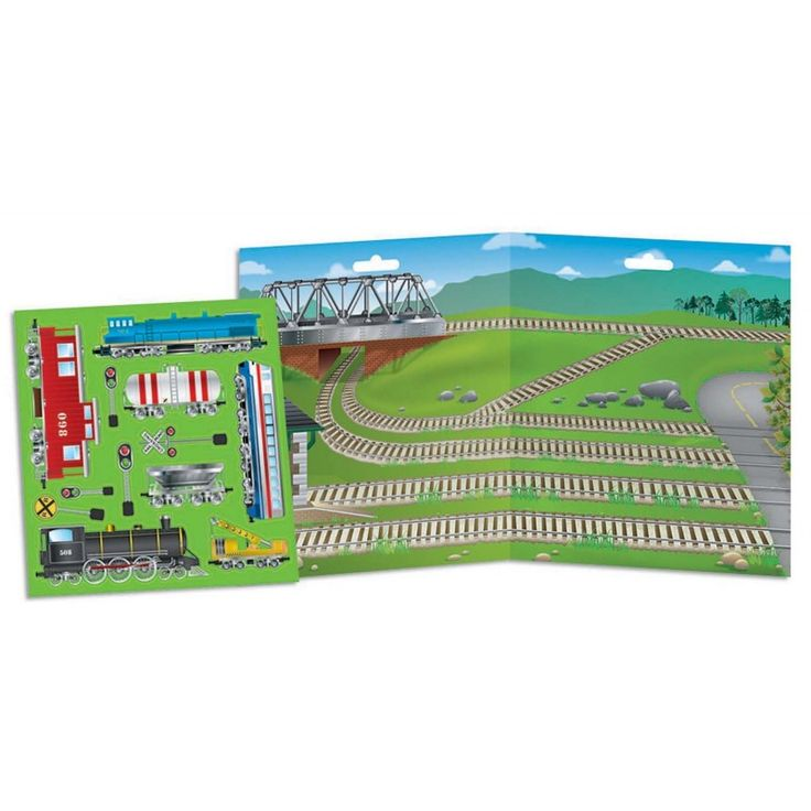 """Become the master conductor of your own train lines with the Ridin' the Rails Magnetic Play Set from Imaginetics! This 14.5"""" x 8"""" magnetic play board features several railway lines in a mountain landscape that await the trains to travel on them! Magnetic train cars and railway signs can be placed and moved around the magnetic play board to create unlimited train stories and adventures. #trains #ridin'therails #imaginetics #magnets"""