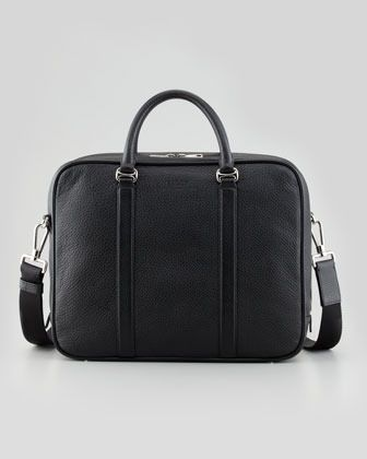 $1,250, Black Leather Briefcase: Bally Zip Around Leather Briefcase With Shoulder Strap. Sold by Neiman Marcus. Click for more info: https://lookastic.com/men/shop_items/1940/redirect