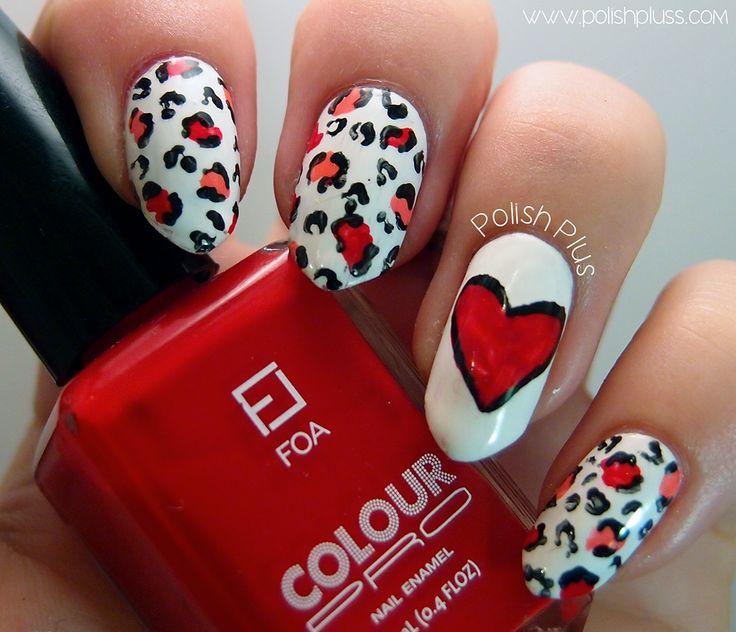 Leopard Print Heart Valentine's Day | Polish Plus #nailart #nails #cute