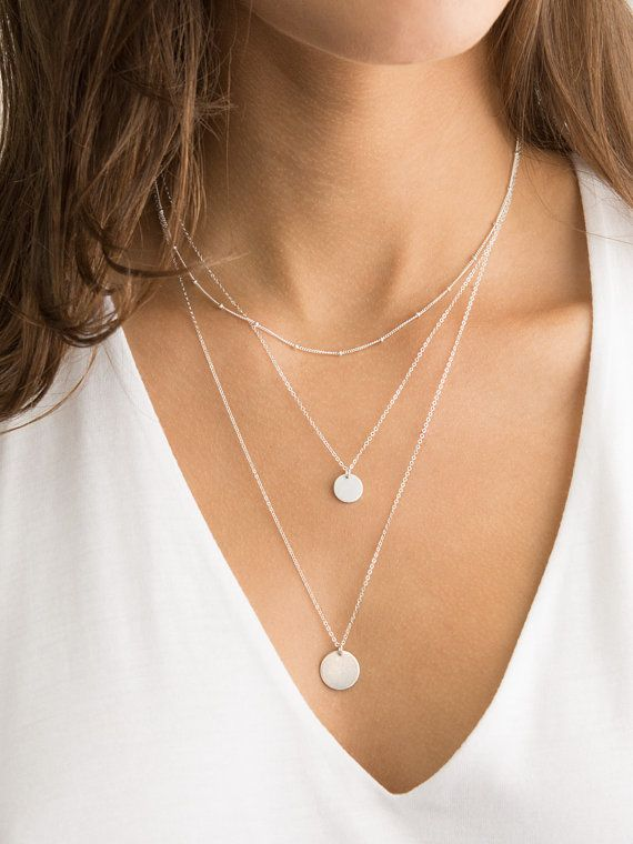 Simple, Minimal Set of 3 Layering Necklaces in Sterling Silver, 14k gold filled or rose gold filled. All individual, so you can wear them separately or layered together. Personalize the disks or leave them blank. Comes in a beautiful package ready for gifting.   Necklace Set: (I included the links to each piece listed individually so you could see more info on each).  DEW DROPS (tiny beaded chain) https://www.etsy.com/listing/166726347/perfect-layering-necklace-dainty-beaded?  SMALL DISC…