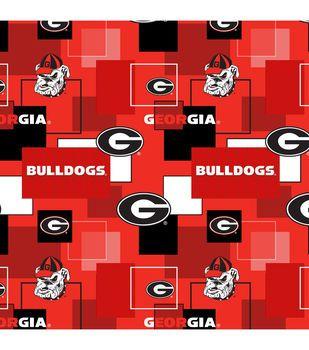 University of Georgia Bulldogs Cotton Fabric 43''-Modern Block