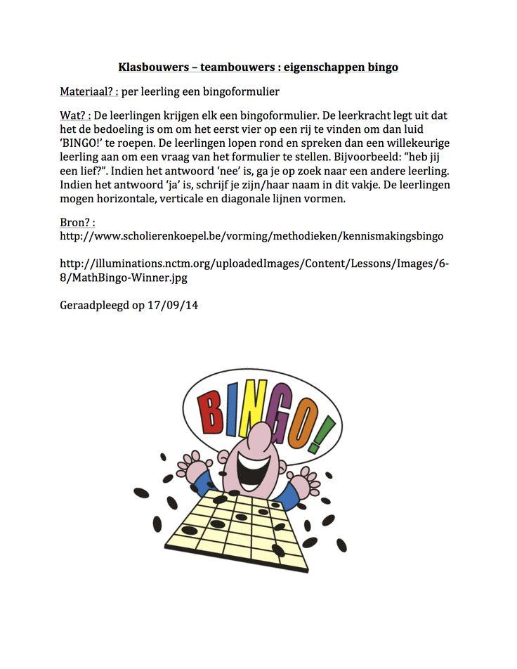 Klasbouwers - teambouwers : eigenschappen bingo
