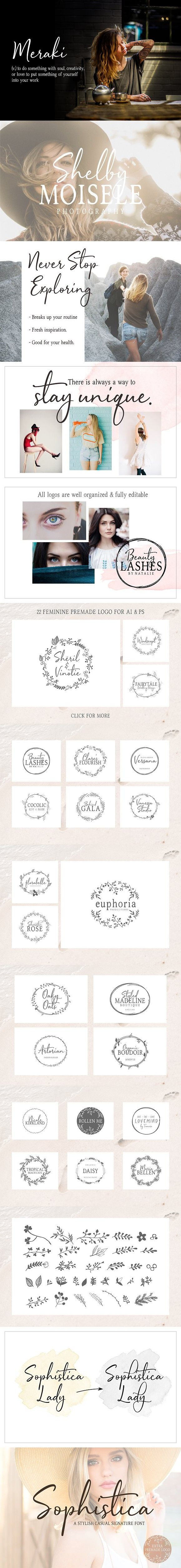 Sophistica -Stylish Font Duo  Extras #lovelyfont #fashion
