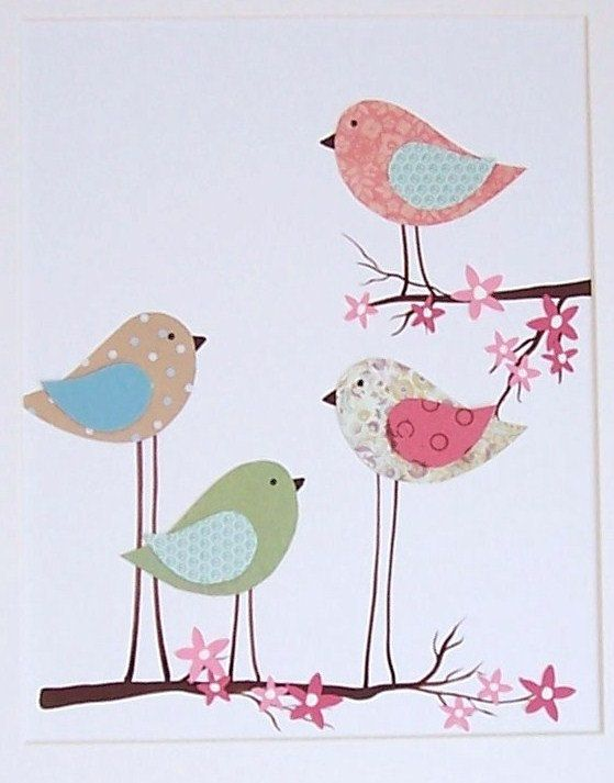 Kids Wall Art, Baby Girl Room Art, Nursery Decor, Birds, Cherry Blossom Tree, Mama and Her Little Ones, 8x10 Print. $14.00, via Etsy.