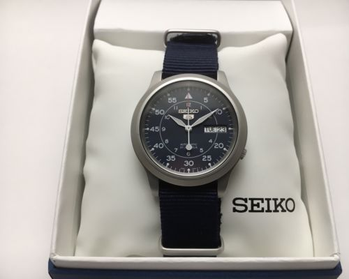 Seiko SNK807 7S26 Automatic Seiko 5 Military Watch Blue Dial Extra Straps