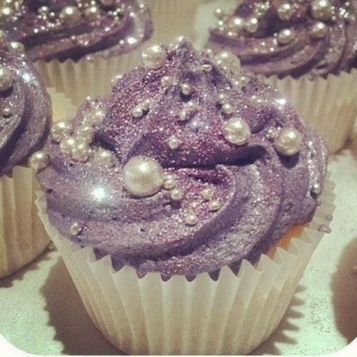 Purple cupcakes with pearl features