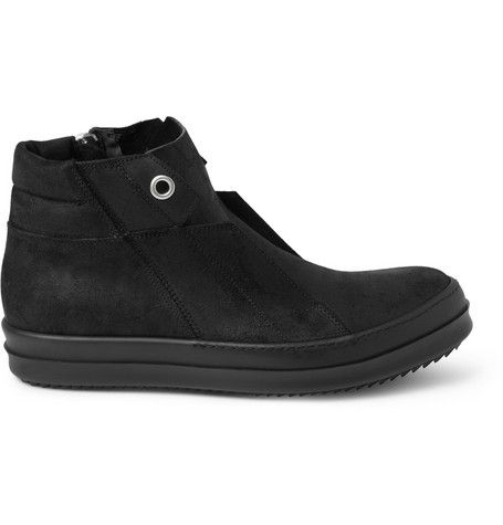 #RickOwens Oiled-Suede High Top Sneakers