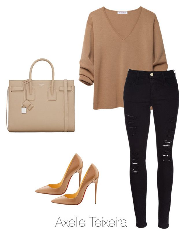 """Untitled #63"" by axelleteixeira ❤ liked on Polyvore featuring J.W. Anderson, Yves Saint Laurent, Frame Denim and Christian Louboutin"