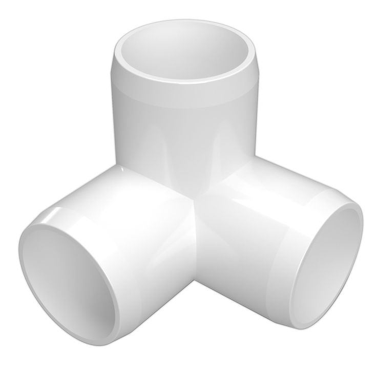 """FORMUFIT Side Outlet Elbow White 1-1/2"""" 3-Way PVC Elbow Fitting - Furniture Grade"""