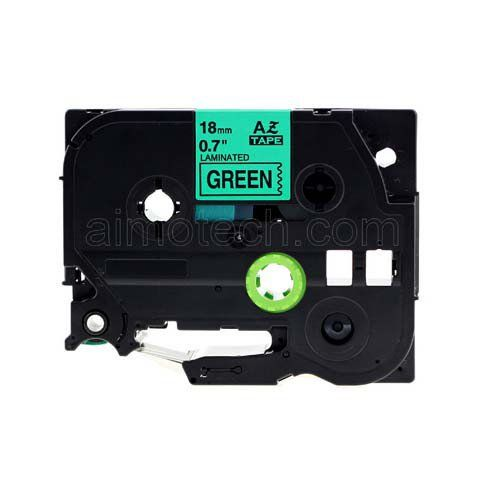 "Brother TZe-741 18mm (0.75"") Black on Green Compatible Label Tape"