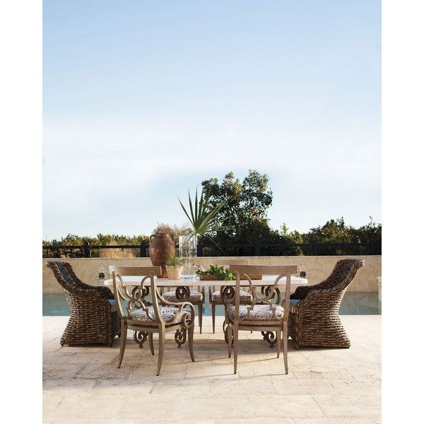 Hemingway Outdoor Wicker Dining/Accent Chair (98.260 RUB) ❤ liked on Polyvore featuring home, outdoors, patio furniture, outdoor chairs, brown, outdoor furniture, faux wicker patio furniture, outdoor patio furniture and outdoor patio chairs