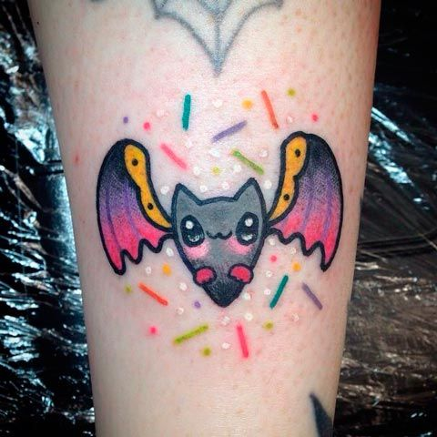 Tatuaje de murciélago kawaii | Cute bat kawaii tattoo
