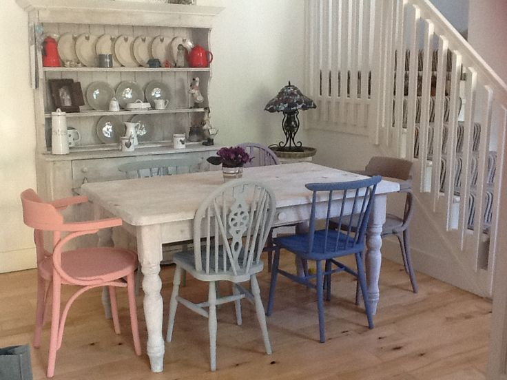 Love the different coloured chairs! Ann mixed  #OldWhite with #ScandinavianPink #DuckEggBlue #Aubusson and #FrenchLinen to paint each chair an individual colour and used the #OldWhite on the table too! Result is fantastic!