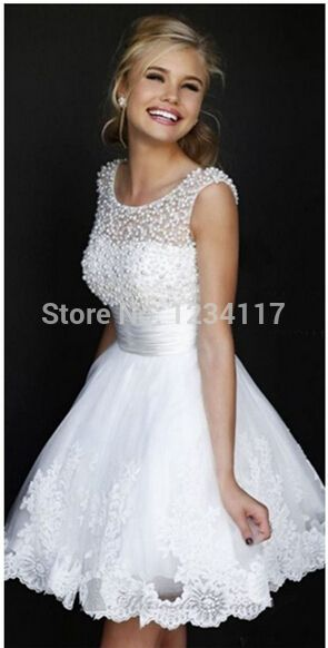 Дешевые свадебные платья пром платья в продаже бренды спинки белый кружева шифон с жемчуг короткие вечерние платья 2015 вечерние платья, принадлежащий категории Вечерние платья и относящийся к Свадьбы и торжества на сайте AliExpress.com | Alibaba Group