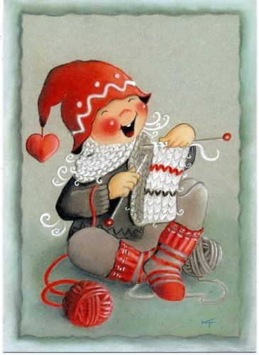 2000s-Gnome-knitting-by-Toivanen-Finnish-Artist-Unposted-postcard