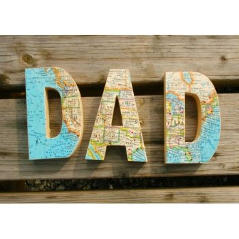 dad or mum vintage map letters