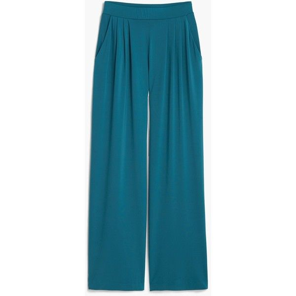 Flowy Palazzo Trousers (£20) ❤ liked on Polyvore featuring pants, mango trousers, blue trousers, stretch waist pants, elastic waistband pants and elastic waist pants