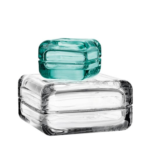 Clear and water green Iittala Vitriini Boxes.