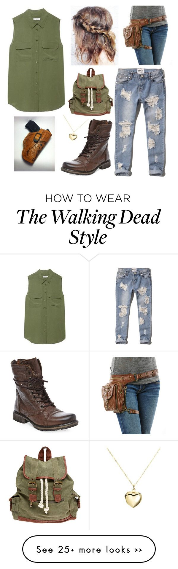 """the walking dead cosplay"" by my-abbs on Polyvore featuring Equipment, Abercrombie & Fitch, Steve Madden, Wet Seal and Argento Vivo"