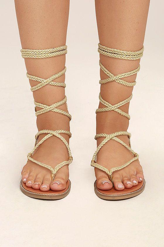 da2123e0d9e4 Madden Girl Juliie Gold Lace-Up Sandals 2