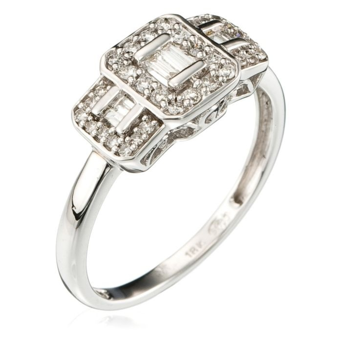 white gold princess ring