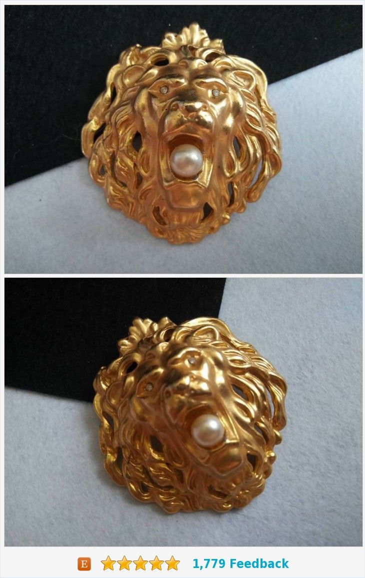 Rhinestone Eyes 1980/'s Collectible Costume Jewelry Vintage Lion Brooch Figural Pin
