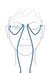 mouvement de drainage contour des yeux (2)Commencez par effectuer une pression circulaire sur les tempes puis trèèèèès délicatement, passez sous les yeux, au niveau des cernes. Remontez par le coin interne de l'oeil jusqu'aux points shiatsu (ceux sous la tête du sourcil) puis toujours trèèèès délicatement descendez de chaque coté du nez, sur le sillon naso-génien puis descendez sur le cou afin de finir le mouvement à la naissance des clavicules.