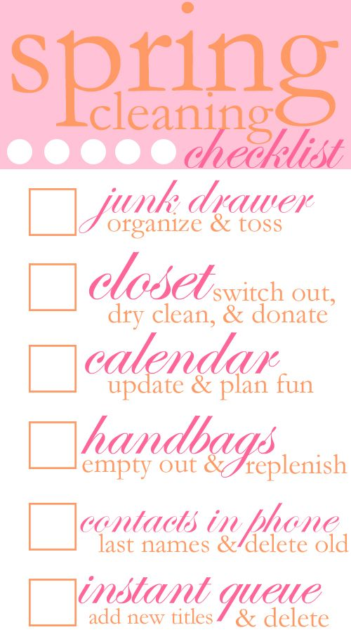Anyway... with all the stresses of senior year (anyone want to hire me??? gulp.), I've been on a spring cleaning spree.  I have vacuumed my room about twice a day for the past week.  If you're not as OCD about that as me, I thought I'd share some of the big ticket items on my spring cleaning list.: Good Ideas, Cleaning Ideas, Cleaning Check List, Spring Cleaning Moving, Spring Cleaning Starting, Cleaning Checklist Printable, Spring Cleaning Checklist, Cleaning Moving Checklist, Spring Cleaning List