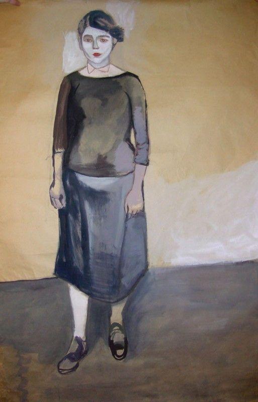 Wróblewski Andrzej - Portret kobiety 1948, gwasz na papierze, Galeria Fibak
