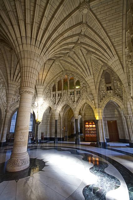 The Rotunda of the Canadian Parliament building in Ottawa - I would go on a tour just to see the architecture!