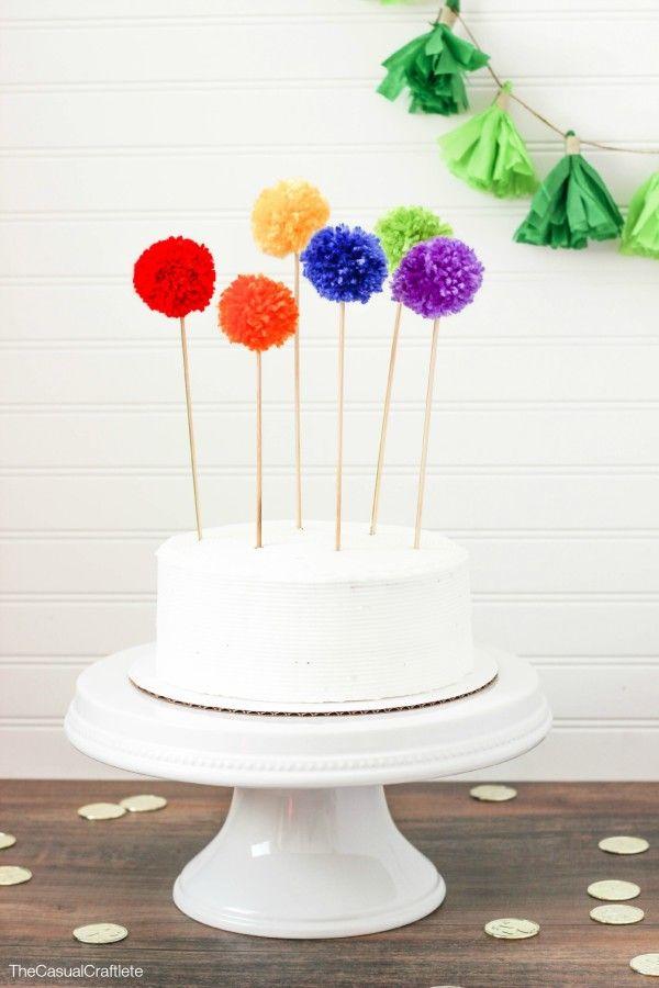 Rainbow Pom Pom Cake Toppers