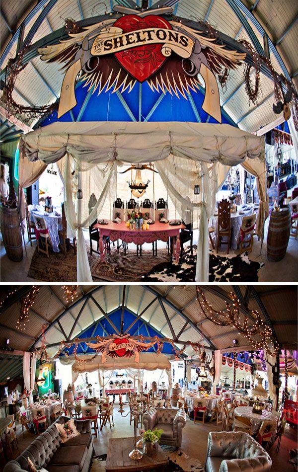 Miranda Blake Wedding Details2 Featured Wedding: Junk Gypsy Plans a Miranda Lambert & Blake Shelton Wedding Reception as only Best Friends C...