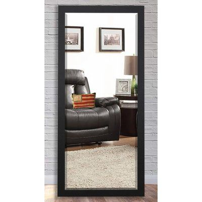 "Brayden Studio Beveled Satin Black Wall Mirror Size: 71"" H x 30.5"" W x 0.75"" D"