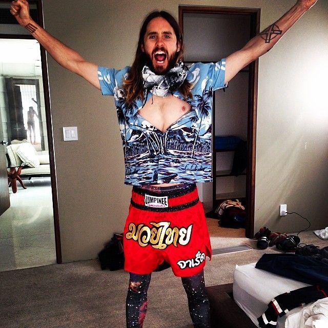 Jared Leto Sure Loves His Prada Hawaiian Shirt