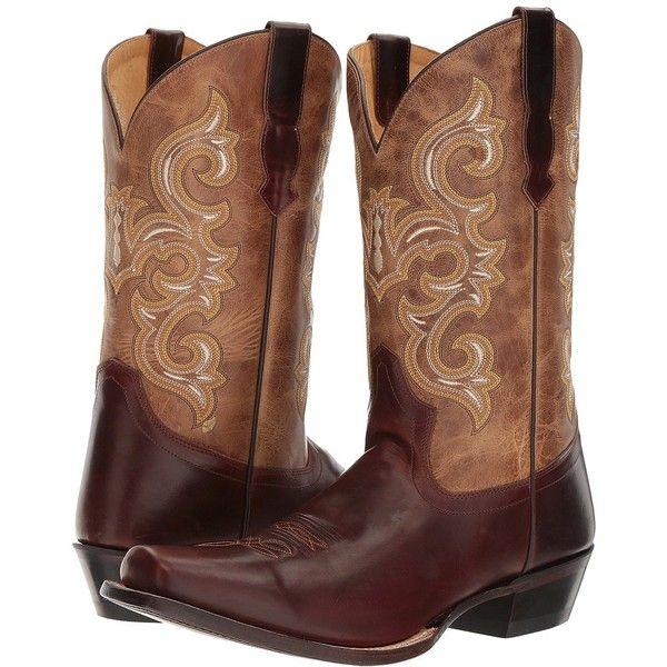 Old West Boots 5551 (Oiled Brown/Tan Fry) Cowboy Boots ($146) ❤ liked on Polyvore featuring men's fashion, men's shoes, men's boots, mens narrow boots, mens leather boots, mens tan leather shoes, mens leather cowboy boots and mens tan boots