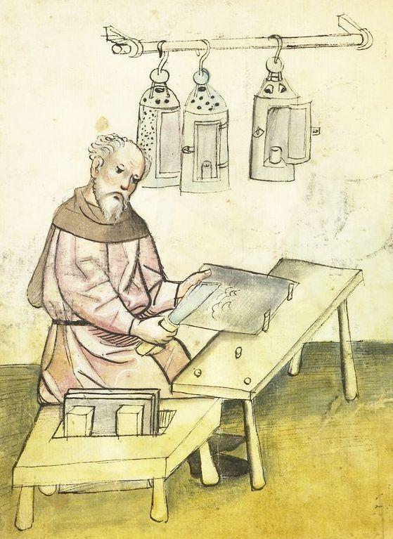 Ffritz Hornrichter works with a plate of horn for a lantern, Mendel Hausbuch (Amb. 317.2, fol. 15v), c. 1425