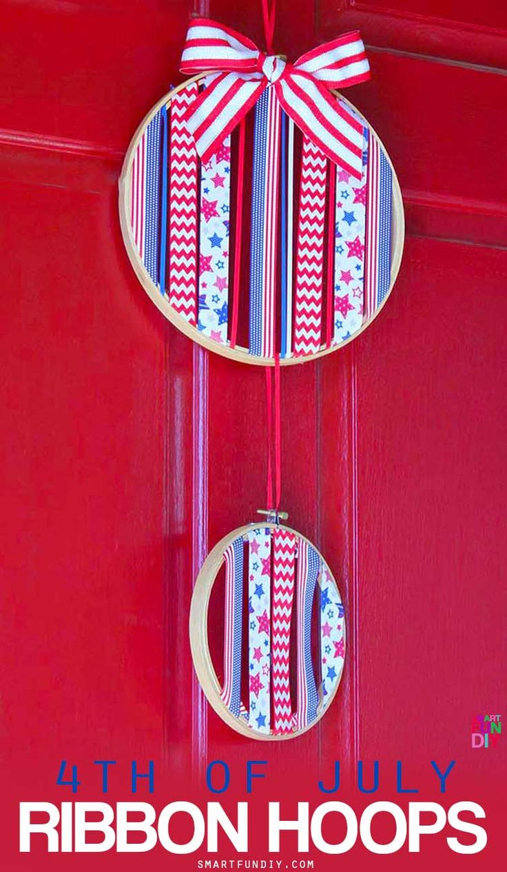 How to make patriotic hoop art for 4th of July or any holiday using ribbon and embroidery hoops. No sewing needed!! Use up your ribbon stash PLUS ideas for how to make these for other holidays - by SmartFunDIY