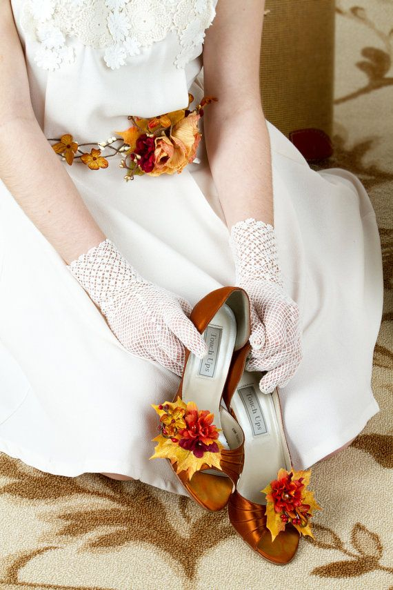 autumn wedding shoe clips, fall leaf shoe clips, burnt orange flower shoe clips - TOE STEP - rustic wedding bridesmaid accessories on Etsy, $55.00